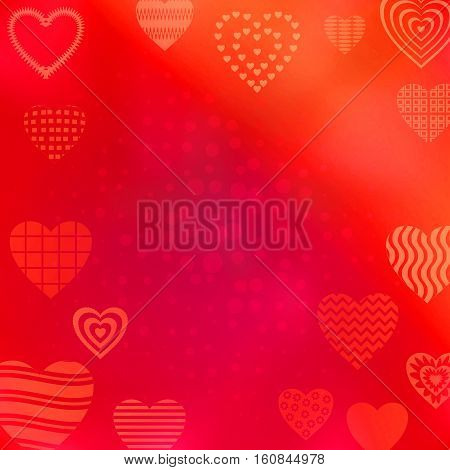 Red abstract background with valentine holiday hearts