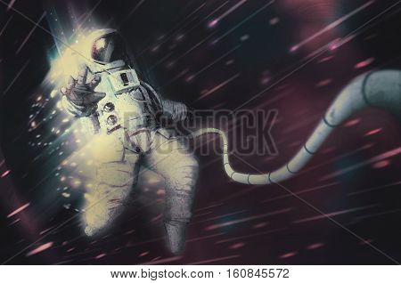 Astronaut being sucked into blackhole while being torn apart by gravity