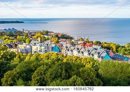 Tallinn, Estonia - September 25, 2016: Aerial view on the new residential cottages near Baltic sea in Tallinn, Estonia