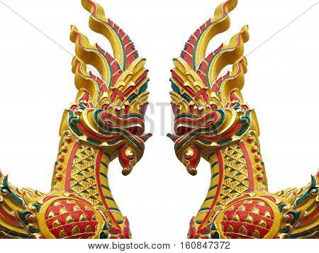 Naga or Serpent King statue isolated on white background.
