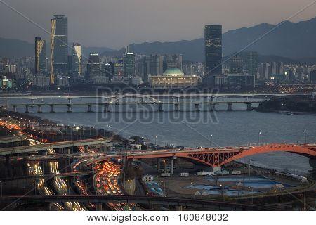 Seongsan Bridge And Yeouido At Sunset