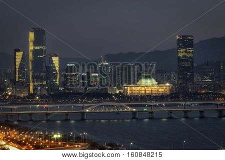 Night View Of Seongsan Bridge And Yeouido