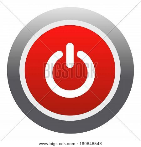 Power red button icon. Flat illustration of power red button vector icon for web