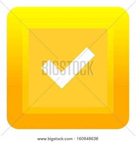 Yellow square button icon. Flat illustration of yellow square button vector icon for web