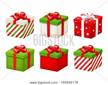 Vector set of red and green Christmas gift boxes with ribbons and bows isolated on a white background.