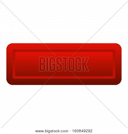 Red rectangle button icon. Flat illustration of red rectangle button vector icon for web