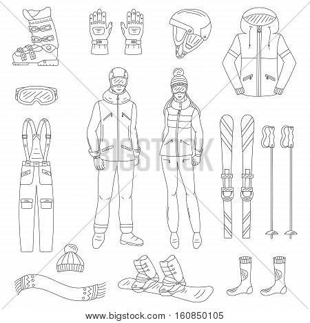 Ski and snowboard icons set , winter sport equipment , snowboard jacket, board, ski and sticks, boots, goggles, helmet , snowboarder man and woman, isolated hand drawn doodle vector illustration.