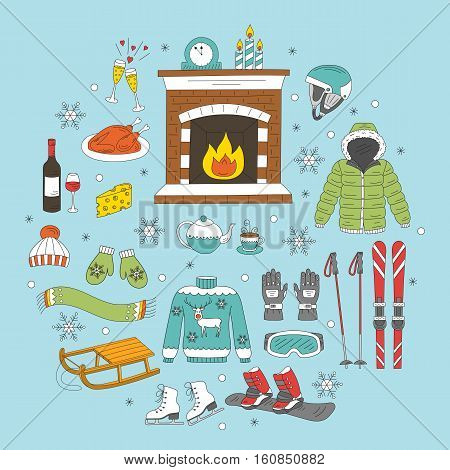Winter activity icons hand drawn doodle vector illustration. Ski and snowboard equipment, winter vacation elements.