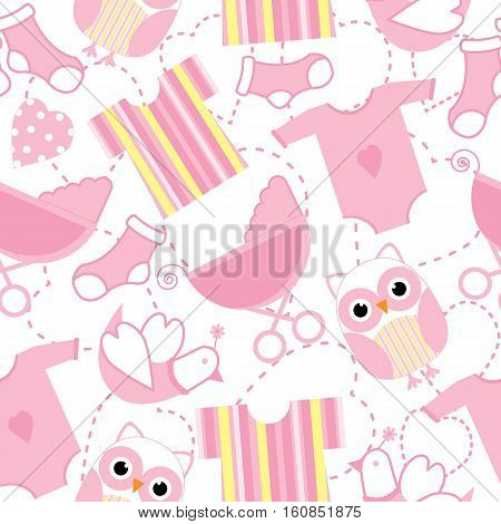 Seamless background of baby shower illustration with cute pink owl and baby clothes on white background suitable for Baby shower wallpaper, postcard, and scrap paper
