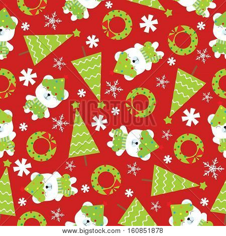 Seamless background of Christmas illustration with cute baby bear and Xmas tree on red background suitable for Xmas wallpaper, scrap paper and postcard