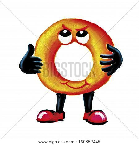 Painting onion ring fried character on white background