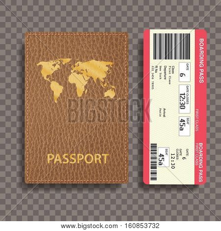 brown leather passport with boarding pass, transparent shadow, vector illustration