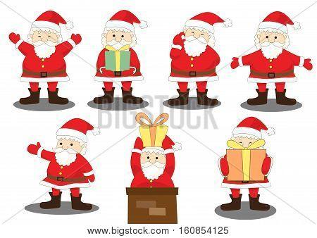 santa claus activities action, santa joy moment and gift, vector illustration
