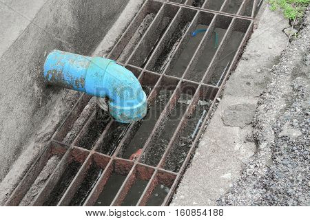 pipe sewer PVC water in ditch .