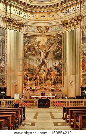 ROMA ITALY APRIL 11 2016: The Crucifixion of st. Andrew the apostle in Basilica di Sant Andrea della Valle april 11 2016 in Rome Italy.