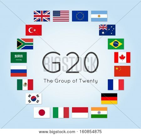 Vector illustration of G-20 countries flags. The Group of Twenty the World's Leading 20 Economies. Banner for Summit G20 financial ann economic international forum. Infographic design image