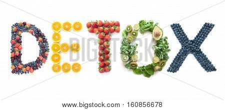 Detox spelt using different groups of fruits and vegetables over a white background