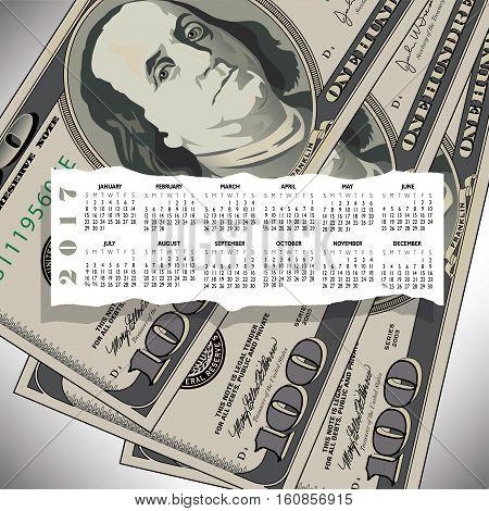 A 2017 calendar with a 100 dollar bill design for print or web