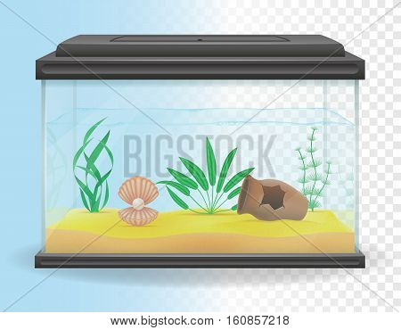 transparent aquarium vector illustration isolated on white background