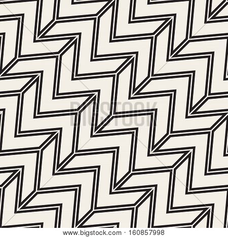 ZigZag Edgy Stripes. Abstract Geometric Background Design. Vector Seamless Black and White Pattern.