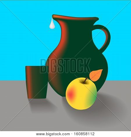 Old kitchen table still life with jug cup and apple