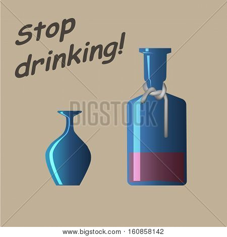 Stop drinking appeal. Whiskey bottle with tied neck and overturned glass. Vector illestration