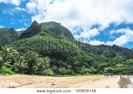 View of Kee Beach at the North of Kauai, Hawaii