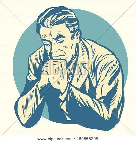 Retro man praying, religion and meditation. Old illustration. Pop art retro vector