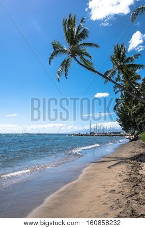 Sand beach at Haena Park in Kauai, Hawaii