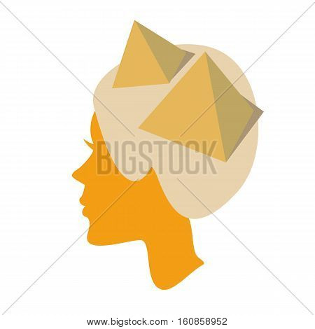 silhouette of female head with piramids. Vector illustration