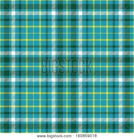 Seamless plaid pattern in dark green, white and  yellow stripes on cyan green