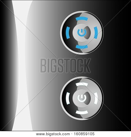 Metal switch button. on/off. Blur and silver colors