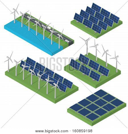 Wind turbine power. Isometric clean energy concept. Wind power. Blue Solar panels. Flat isometric. Modern alternative energy. Set of Ecological energy.