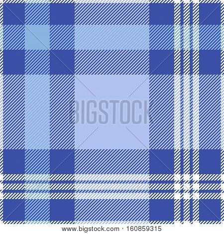 Seamless tartan plaid pattern. White, soft  and periwinkle blue stripes on dark moderate blue background.