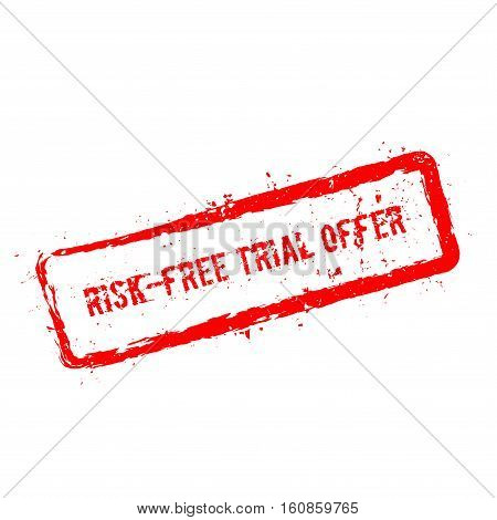 Risk-free Trial Offer Red Rubber Stamp Isolated On White Background. Grunge Rectangular Seal With Te