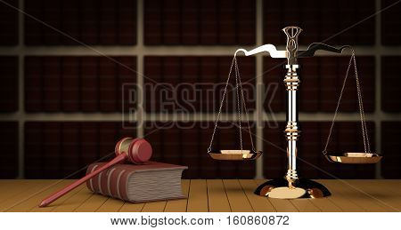 Judge gavel and scale in court. Library with lot of books in background 3d illustration