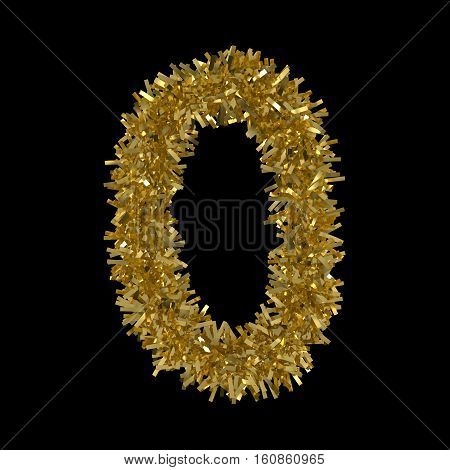 Number Zero Made From Gold Christmas Tinsel Isolated On Black - 3D Illustration