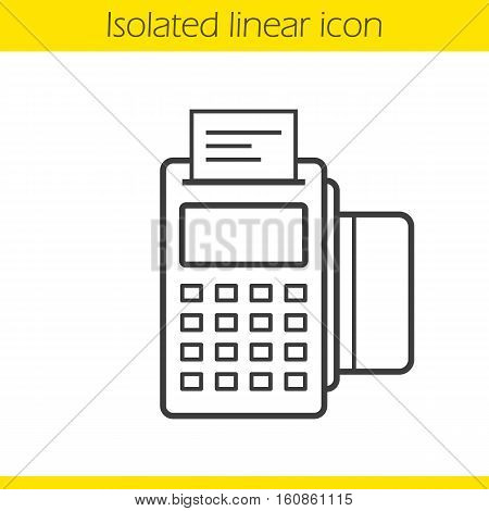Pos terminal linear icon. Thin line illustration. Contour symbol. Store payment terminal with check and credit card. Vector isolated outline drawing