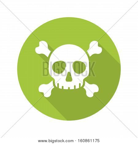 Poison danger flat design long shadow icon. Skull with crossbones. Death sign. Vector silhouette symbol