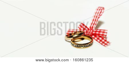 Wedding rings and ribbon, holiday, happy and love