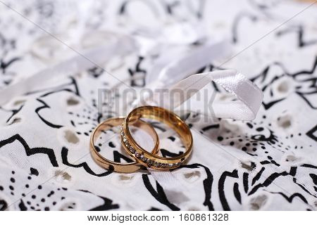 Wedding golden rings, happy and love, holiday