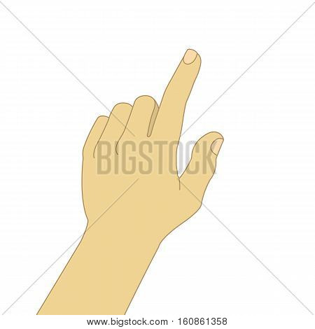 Pointing hand color illustration. Caucasian man's hand pressing button. Isolated vector drawing