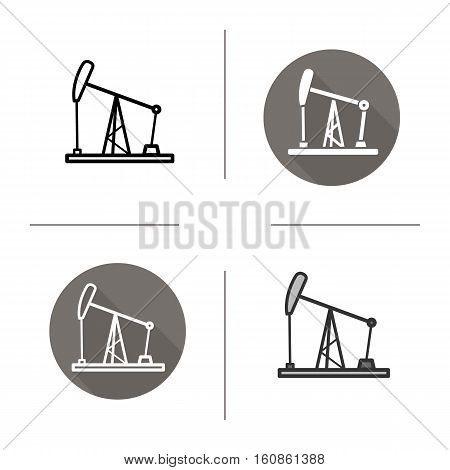 Oil derrick icon. Flat design, linear and color styles. Oil pump jack isolated vector illustrations