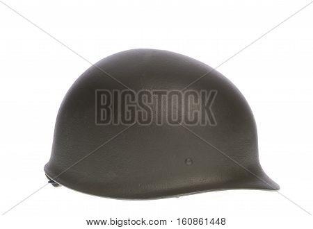 khaki military helmet isolated on white background