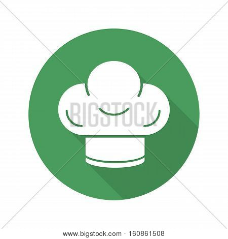 Chef's hat flat design long shadow icon. Toque. Vector silhouette symbol