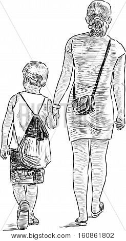 Vector sketch of a woman with her kid on a walk.