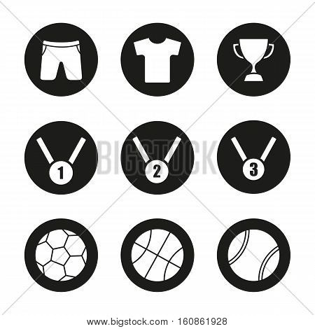 Sport equipment icons set. Winner cup, gold, silver and bronze medals. Basketball, tennis and soccer balls, t-shirt and shorts. Vector white silhouettes illustrations in black circles