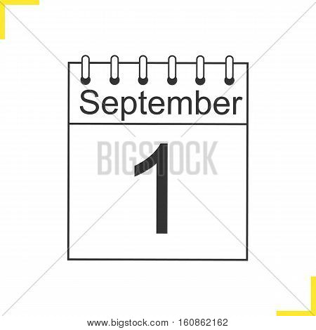 September 1st linear icon. Calendar thin line illustration. Knowledge Day. Contour symbol. Vector isolated outline drawing