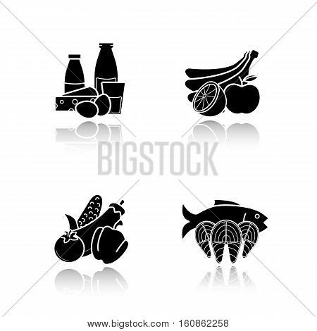Grocery store products drop shadow black icons set. Food categories. Dairy products, seafood, fruit and vegetables. Isolated vector illustrations