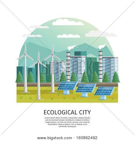 Orthogonal icon ecological city arched composition with turbine towers solar batteries house silhouettes and editable text vector illustration